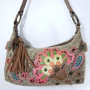 Fossil Boho Floral Leather Applique shoulder Bag